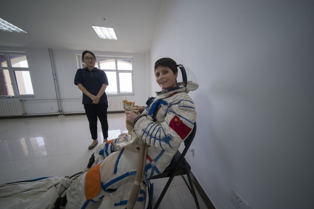 ESA astronaut Samantha Cristoforetti in a Chinese pressure suit during training with Chinese colleagues to practise sea survival off China's coastal city of Yantai, on 14 August 2017.