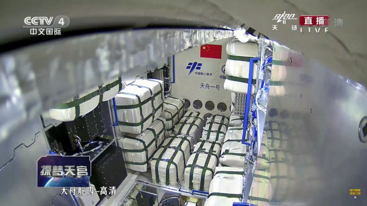 A view of the inside Tianzhou-1 and its cargo while in orbit.