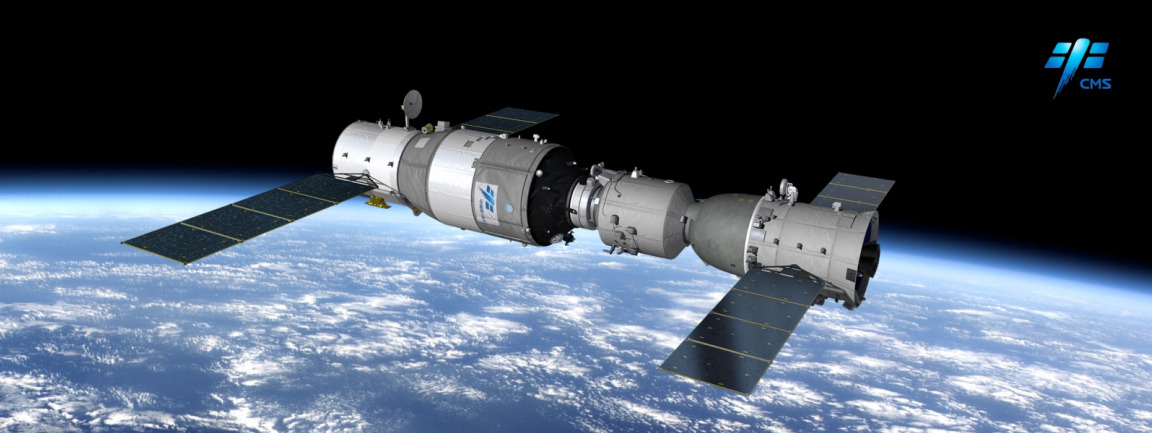 A rendering of Tiangong-2 (left) docked with Shenzhou-11.