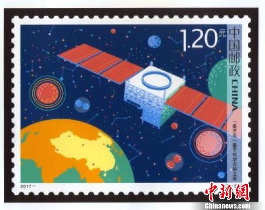 Artwork postage stamp issued to commemorate the Mozi (Micius) Quantum Science Satellite.