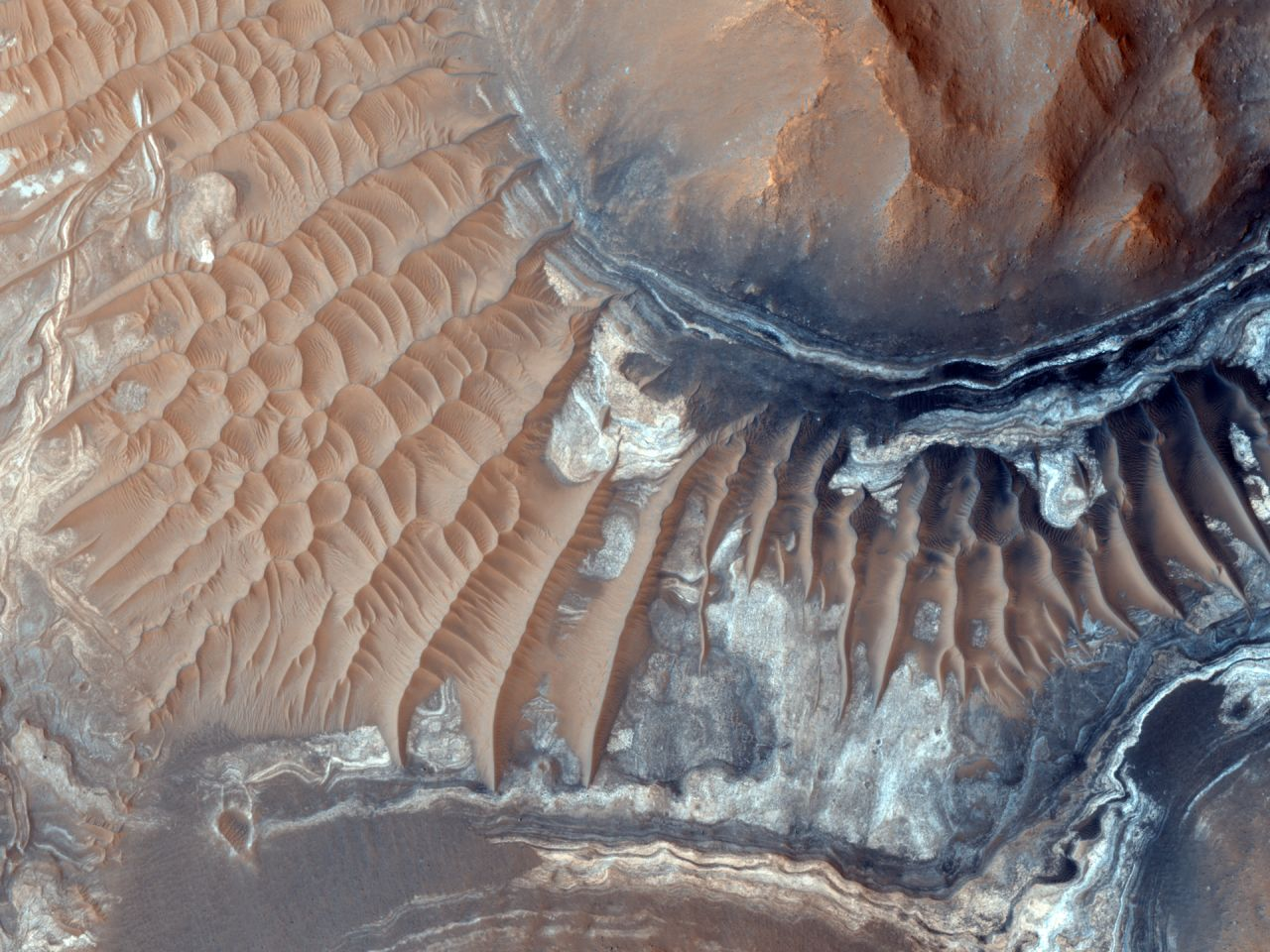 A region of the Noctis Labyrinthus formation on Mars, imaged by the HiRise camera on NASA's Mars Reconnaissance Orbiter.