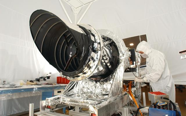 HiRISE being prepared before it is shipped for attachment to the MRO spacecraft.