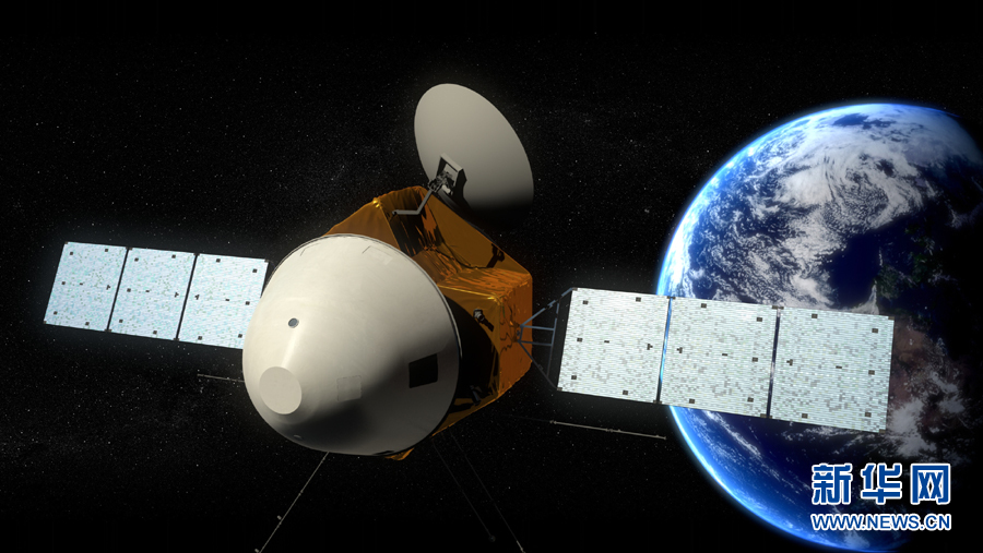 An artist impression of China's combined orbiter, lander and rover spacecraft headed for Mars.