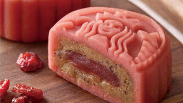 Cranberry and osmanthus mooncakes.