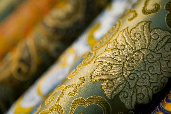 chinese green and yellow silk brocade
