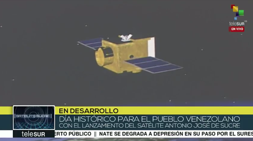 Solar panels deployed on the VRSS-2 (Antonio Sucre) satellite.