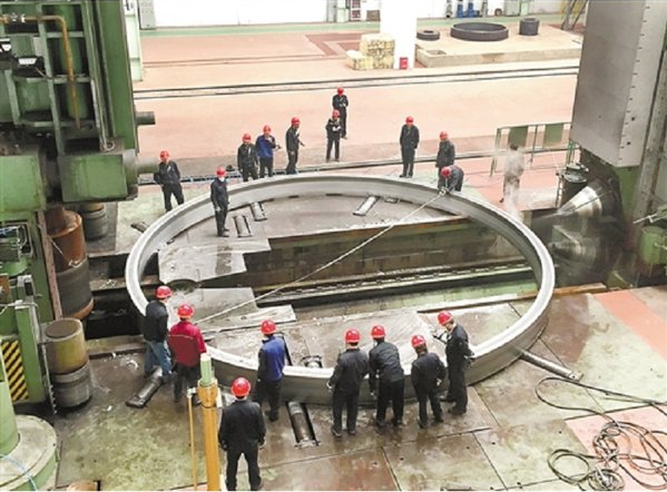 An interstage ring manufactured in Tianjin, North China, in preparation for the core of a Long March 9 rocket.