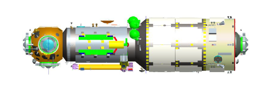 A rendering of the Tianhe-1 Chinese Space Station core module with a multi docking hub on the left.