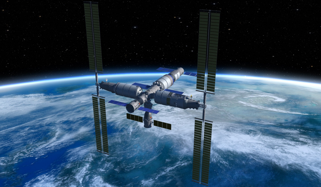 A rendering of the completed Chinese Space Station, including docked Shenzhou and Tianzhou spacecraft.