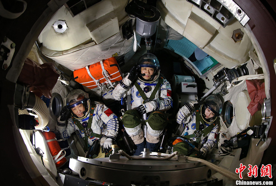 The crew of Shenzhou-10 in preparation for launch in June 2013.