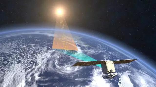 A rendering of TanSat in operation in low Earth orbit.
