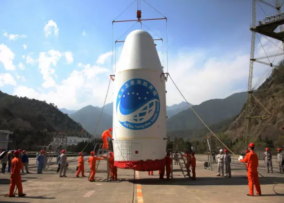 A Beidou satellite inside the payload fairing ready for stacking at Xichang in 2016.