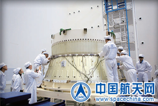 A Yuanzheng-1A upper stage being prepared for integration with a Long March 7 launch vehicle.