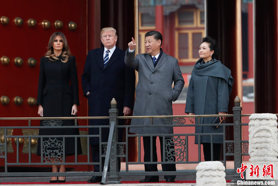 Chinese President Xi Jinping and his wife Madame Peng Liyuan welcomed visiting US President Donald Trump and his wife Melania Trump to the Forbidden City in Beijing on Wednesday.