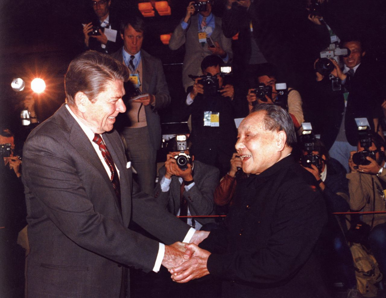 Deng Xiaoping meeting President Reagan at the Great Hall of the People in Beijing on April 28, 1984.