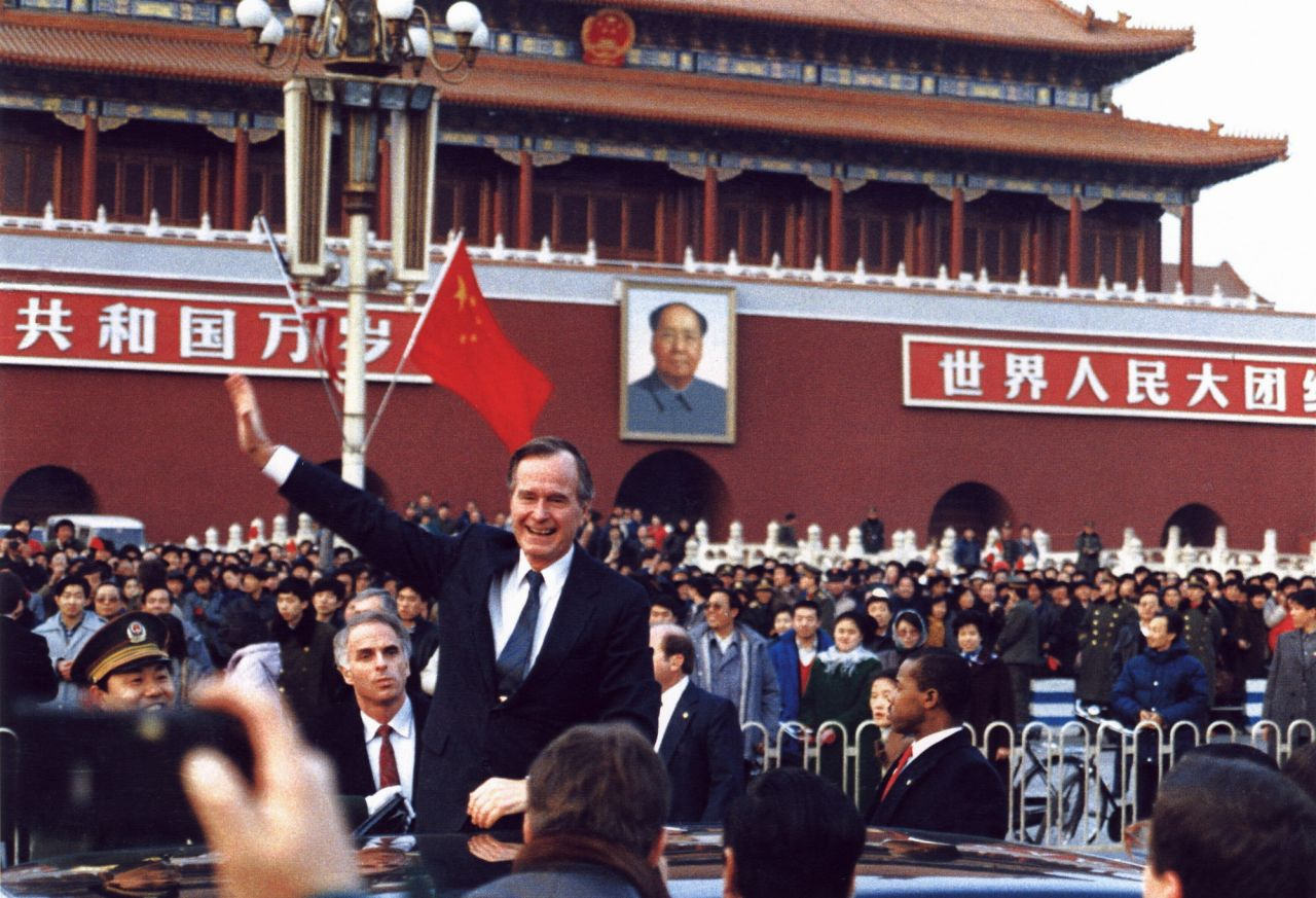 President George H.W. Bush on a working visit to Beijing, China in February 1989.