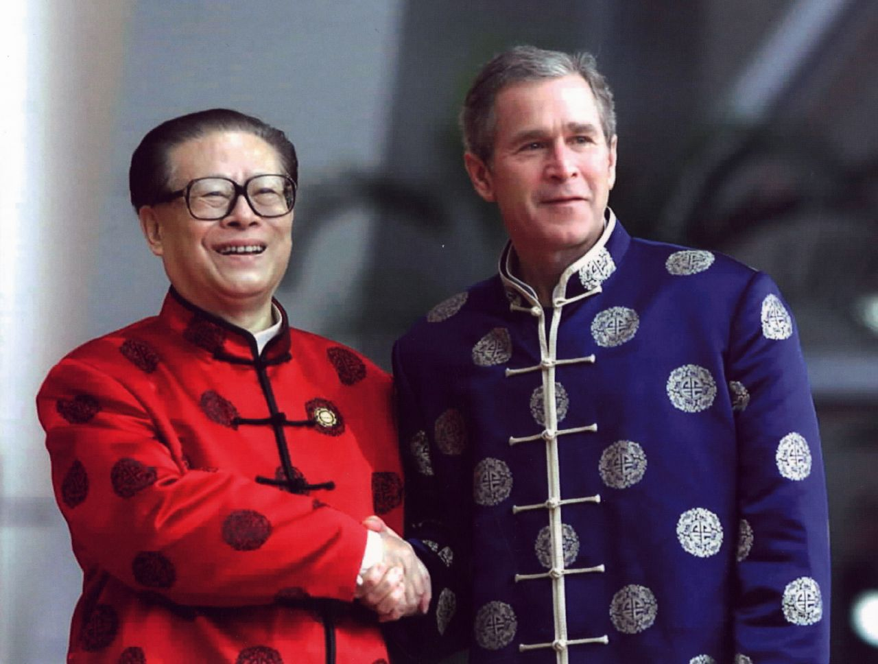 President Jiang Zemin and President George W. Bush at the APEC Economic Leaders' Meeting in Shanghai in October 2001.