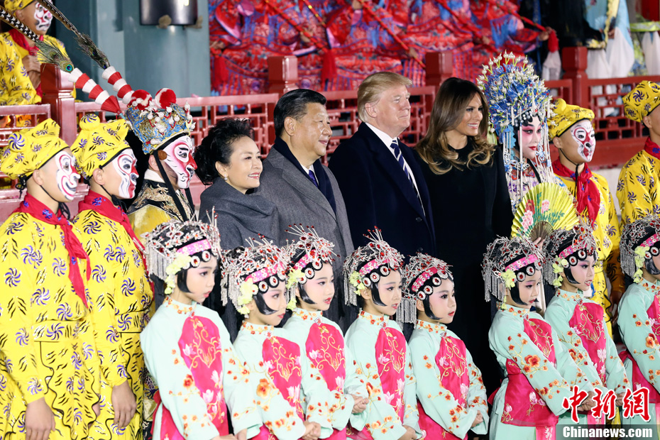 US President Donald Trump and First Lady Melania Trump watch Peking opera in the Forbidden City with Chinese President Xi Jinping and his wife Peng Liyuan in November 2017.