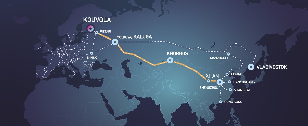 The route of the Kouvola-Xi'an direct cargo train connection.