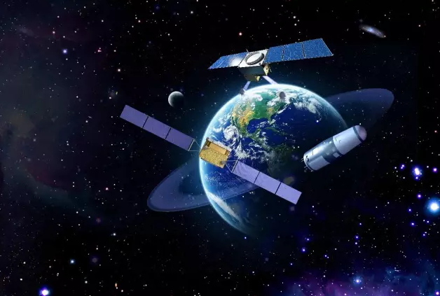 An artist impression of China's first batch of space science missions, DAMPE, QUESS, Shijian-10 and HXMT, in orbit.