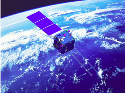 A rendering of the cubic 1.4m Zhangheng-1 satellite (CSES).