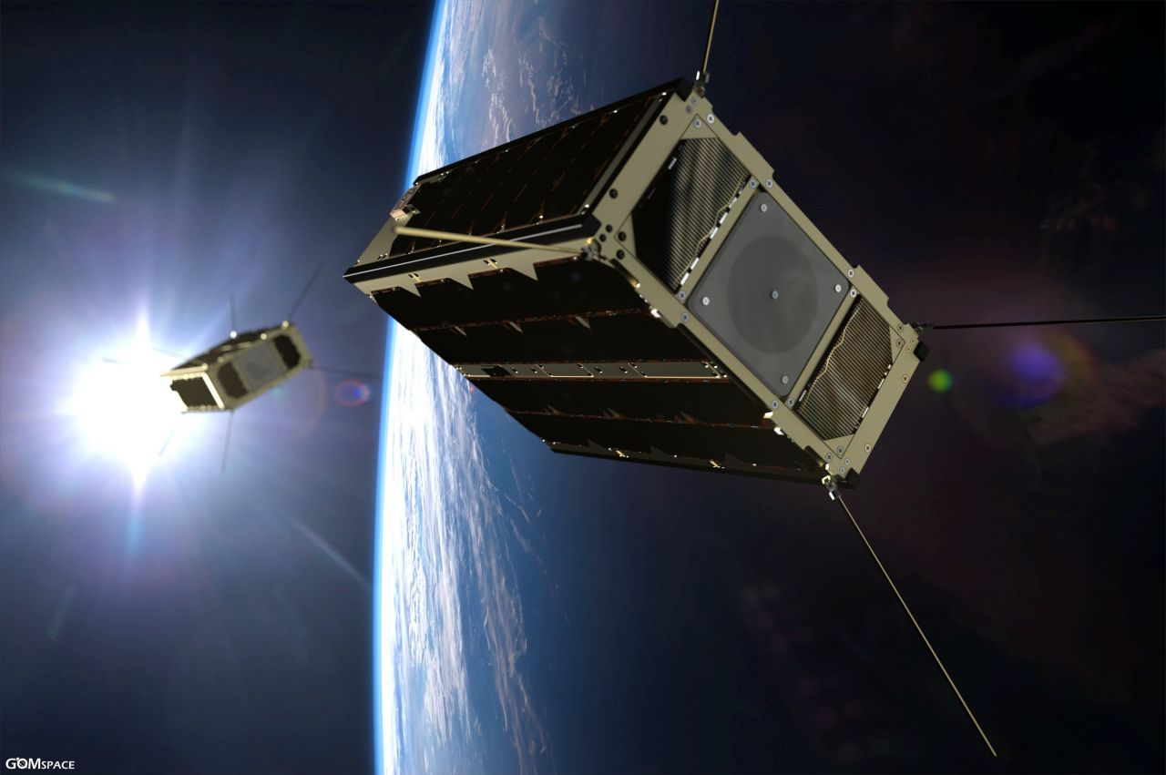 A rendering of the GomX-4A and GomX-4B CubeSats.