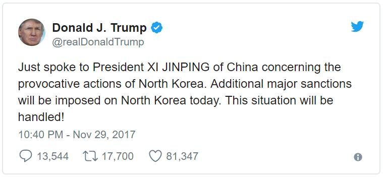 Donald Trump asks Xi Jinping to cut off the oil from North Korea