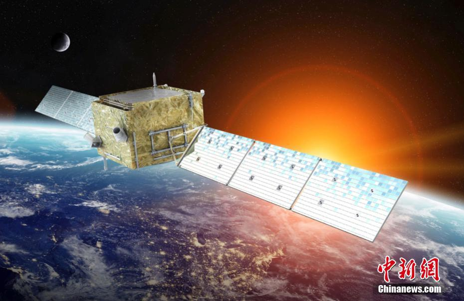 An artist's impression of China's Wukong (DAMPE) dark matter probe in orbit around the Earth.