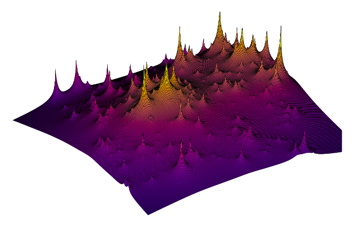 3D visualization of the detailed distribution of dark matter in the galaxy cluster Abell 2744 derived from the detected lensing in the Hubble Frontier Fields Program data.