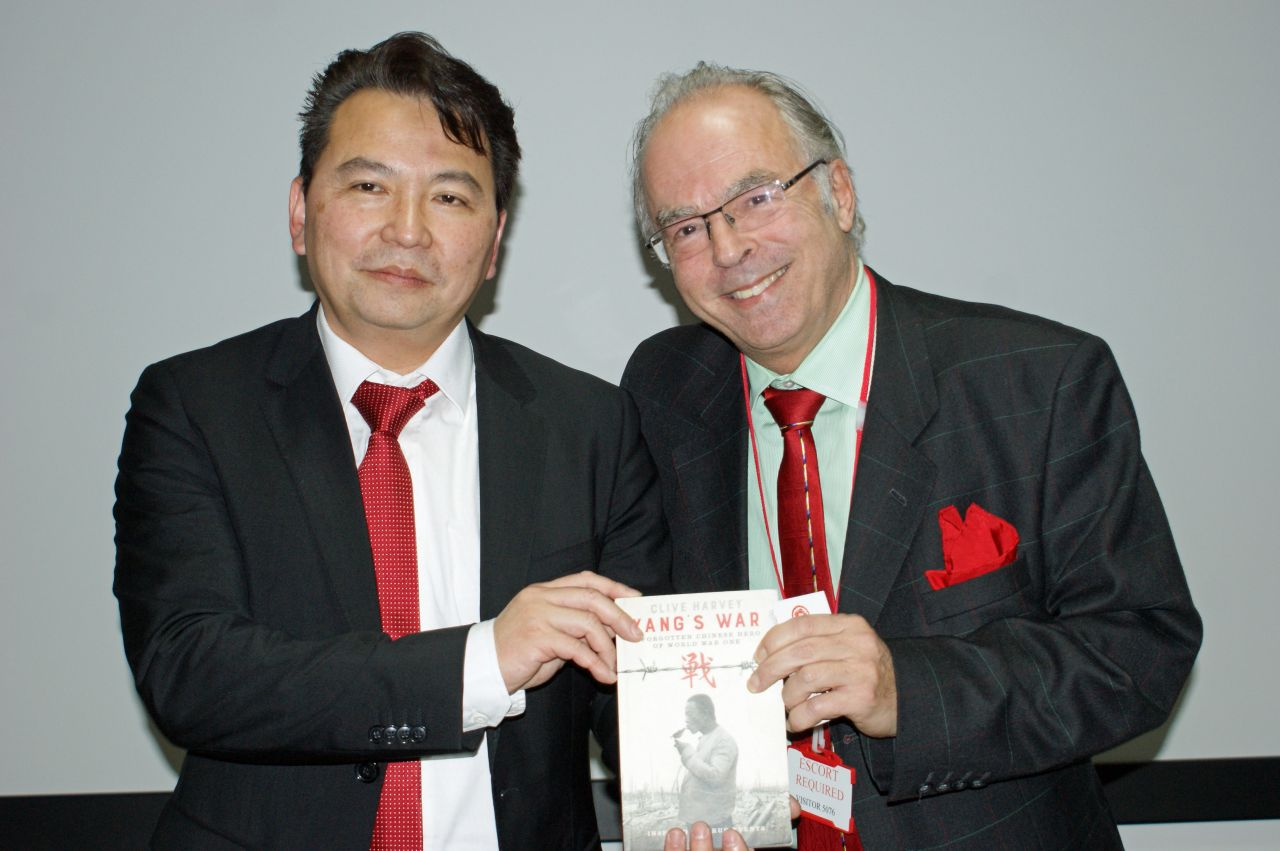 Clive Harvey, author of Yang's War, with Thomas Chang, the ABP Developer for the Royal Albert Docks where the monument will be located.