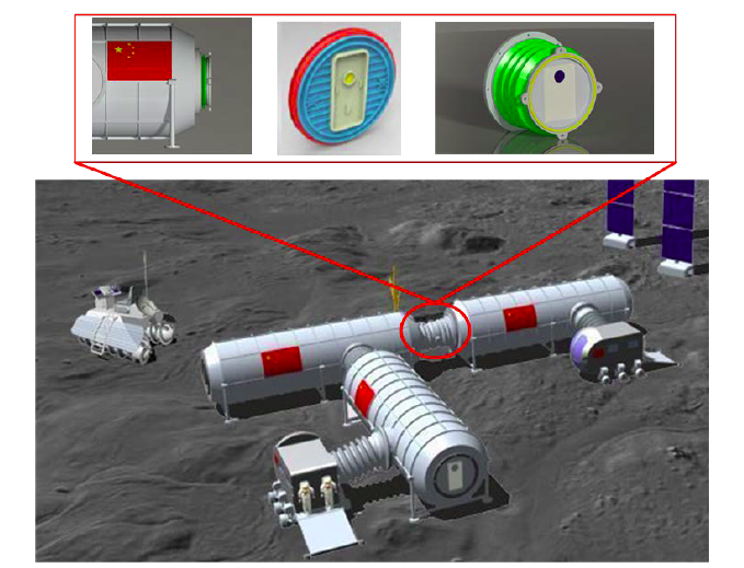 Expandable joints of inner part of integrated human lunar base.