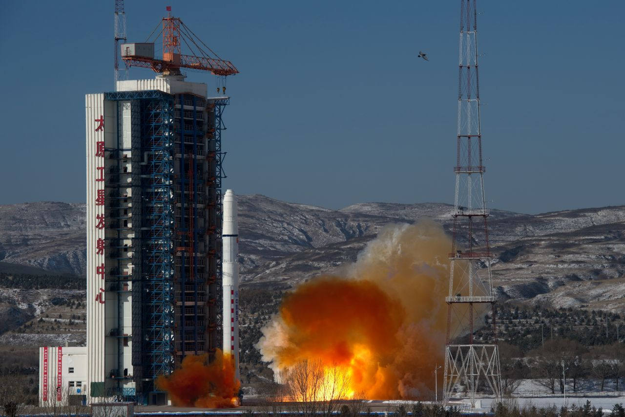 A Long March 2D launch vehicle lifts off from Taiyuan on January 9, 2018, carrying the SuperView-1 03 and 04 Earth observation satellites, also known as Gaojing-1 (03+04).