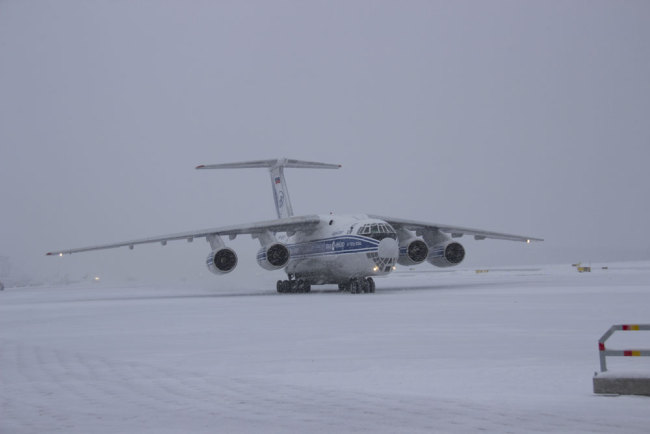 Lumi and Pyry touch down in Helsinki aboard an Ilyushin Il76 cargo plane.