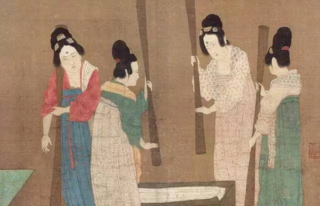 A coloured illustration from an ancient Chinese document showing four women wearing combs in their hair.