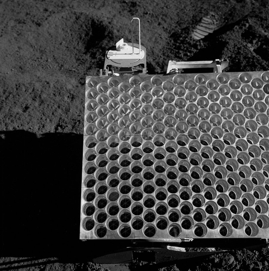 A portion of the Apollo 15 Lunar Laser Ranging RetroReflector array, as placed on the Moon and photographed by David Scott.
