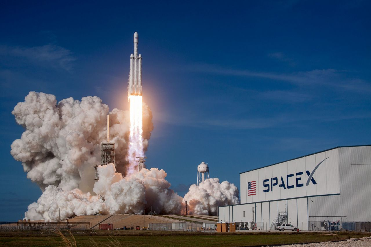 The SpaceX Falcon Heavy rocket launched from the Kennedy Space Centre.