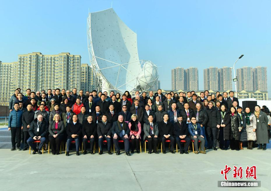 Chinese and international SKA team members in front of the the first fully assembled dish in Shijiazhuang City, Hebei Province, northern China.