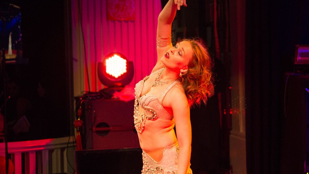 Helena performing an Arabic dance.