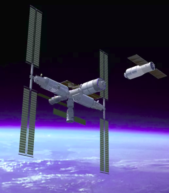 A rendering of the Chinese Space Station complex, including docked Shenzhou craft, being approached by a Tianzhou cargo vessel (right).