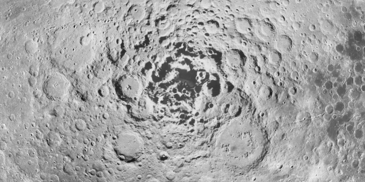 The Moon's south pole from images taken by the 1994 NASA Clementine mission.