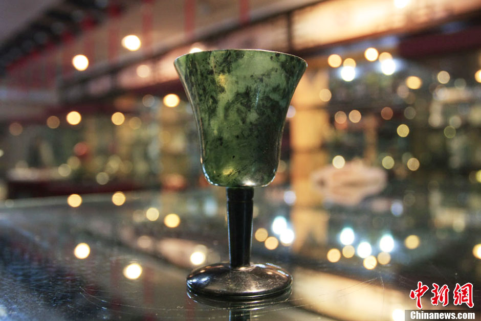 chinese dark green marbled jade wine goblet cup exhibition