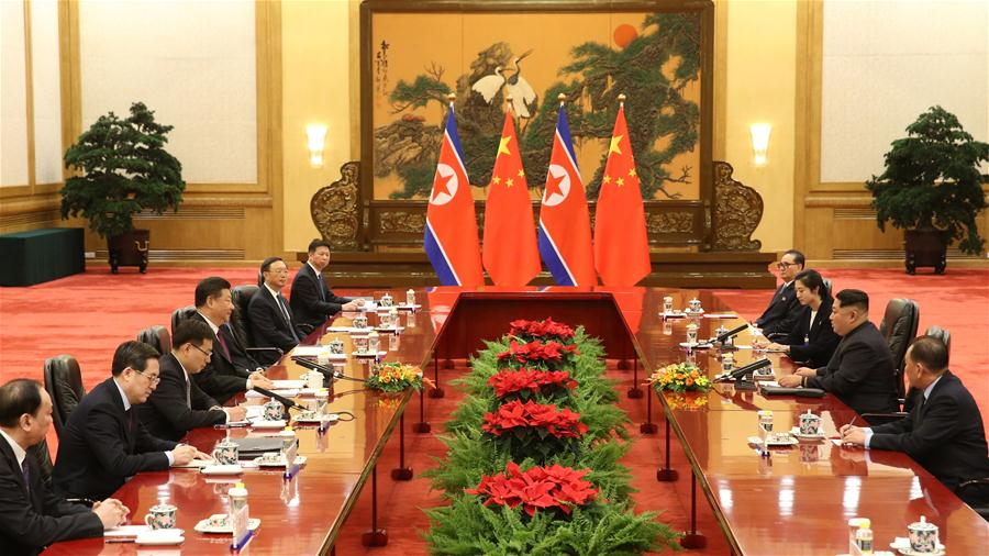 Xi Jinping holds talks with Kim Jong-un at the Great Hall of the People in Beijing. At the invitation of Xi, Kim paid an unofficial visit to China from March 25 to 28.