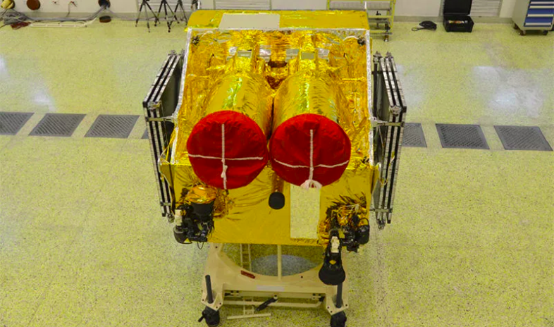 One of the Gaofen 1 02, 03 and 04 Earth observation satellites before launch.