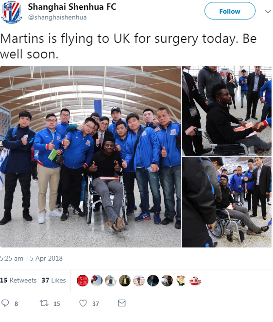 Shanghai Shenhua confirmed on Twitter that Martins has flown to the UK for surgery on his injured hamstring.
