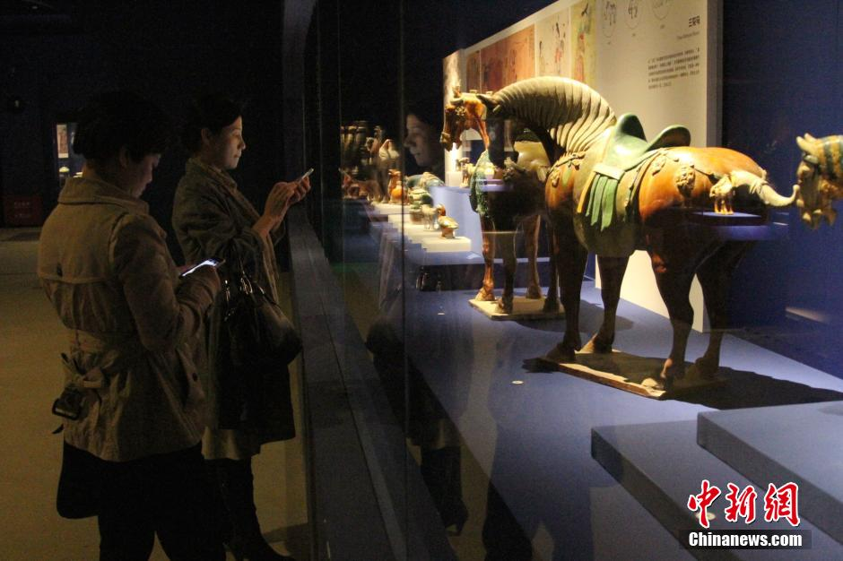 sancai chinese ceramic sculptures horses shaanxi history museum exhibit