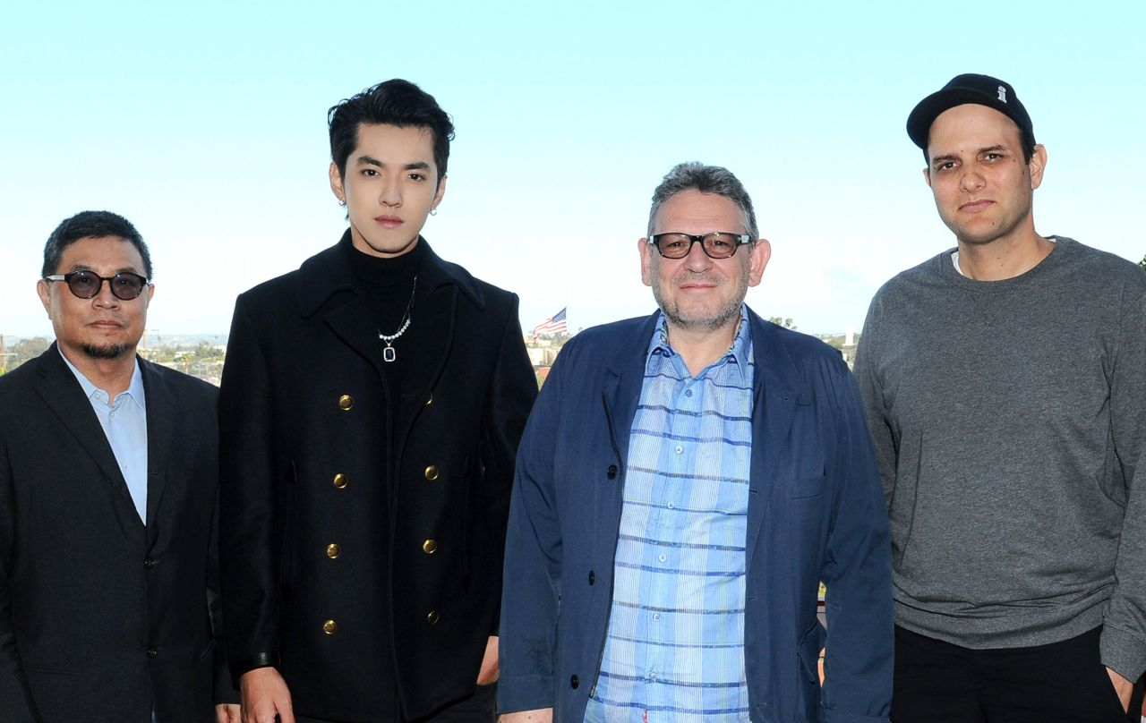 Sunny Chang (Chairman & CEO Universal Music China), Kris Wu, Sir Lucian Grainge (Chairman & CEO UMG) and John Janick (President, Interscope Records).