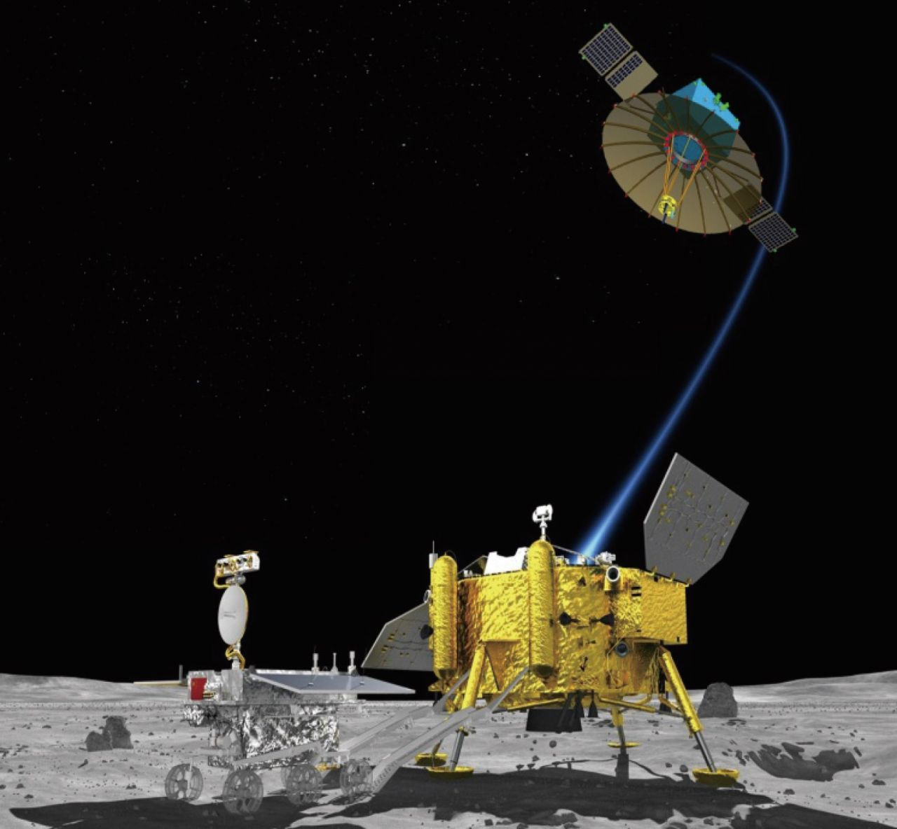 A rendering of the Chang'e-4 relay satellite, to launch in May 2018, and lander and rover to set down on the lunar far side in late 2018.