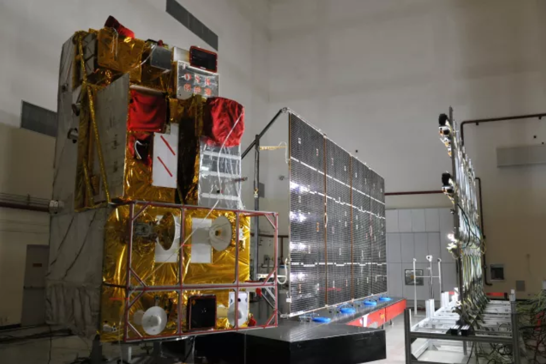 The 2,700 kg Gaofen-5 Earth observation satellite during illumination testing at SAST.