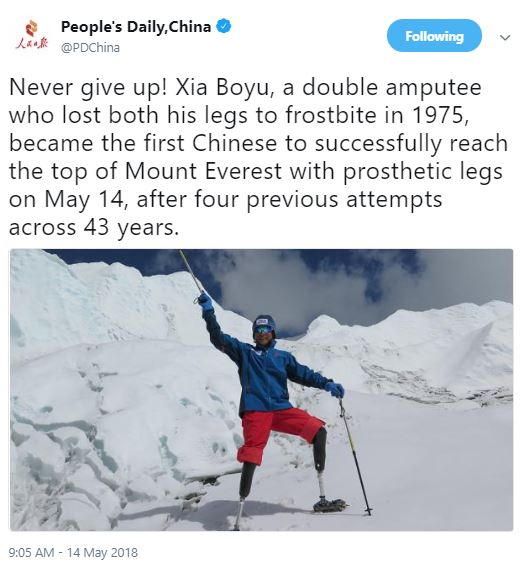 70-year-old double amputee Xia Boyu becomes the first Chinese to successfully climb Mount Everest with prosthetic legs.