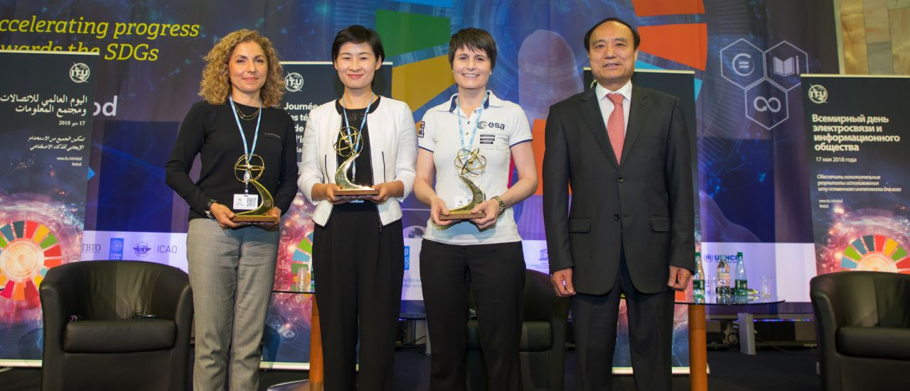 China's first female astronaut Liu Yang (2nd L), Italian astronaut Samantha Cristoforetti (2nd R), Space tourist Anousheh Ansari (1st L) and ITU Secretary-General Zhao Houlin attend an interactive forum in Geneva, Switzerland, May 17, 2018.